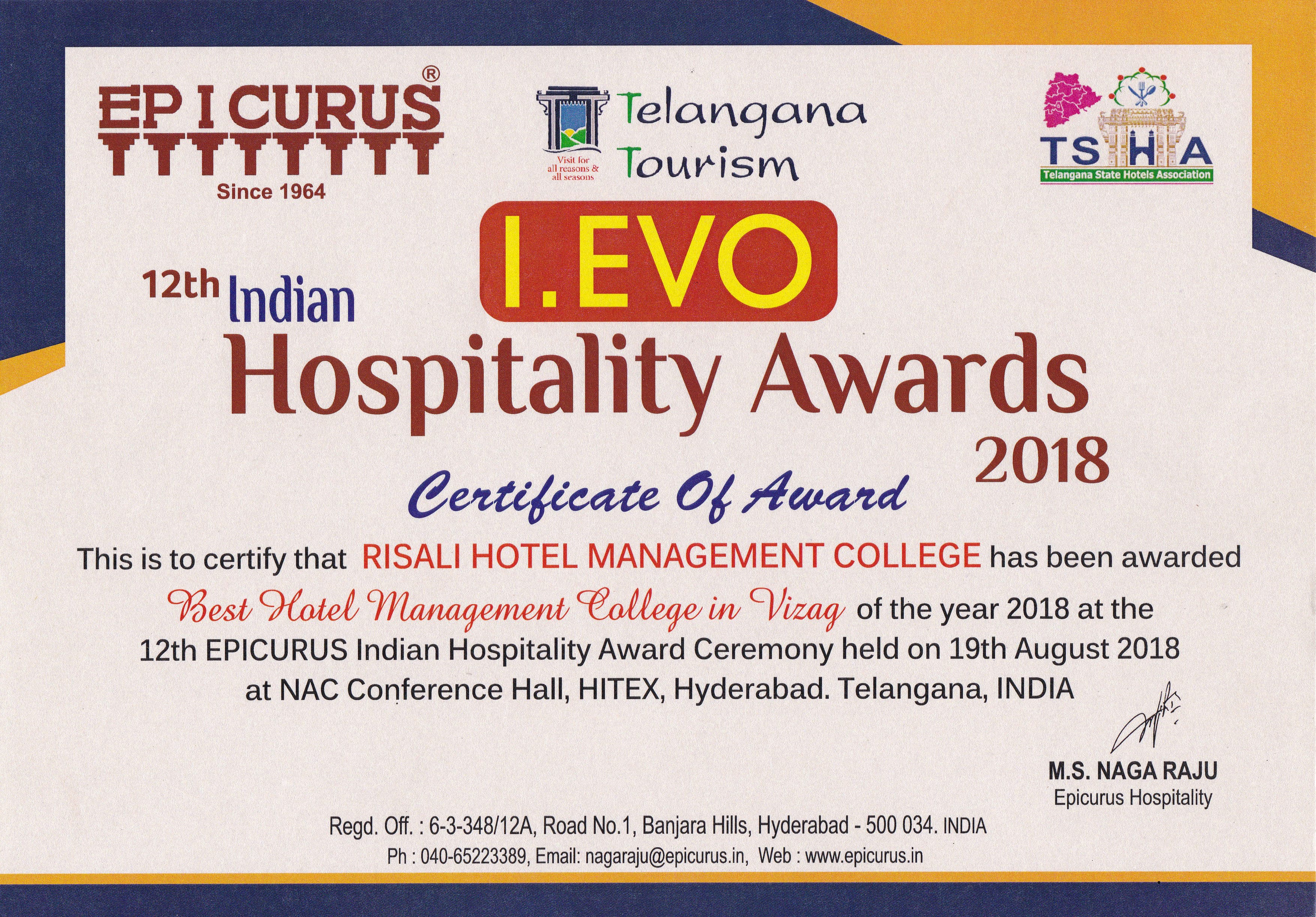 I EVO 12th Indian Hospitality Award for Best Hotel Management College